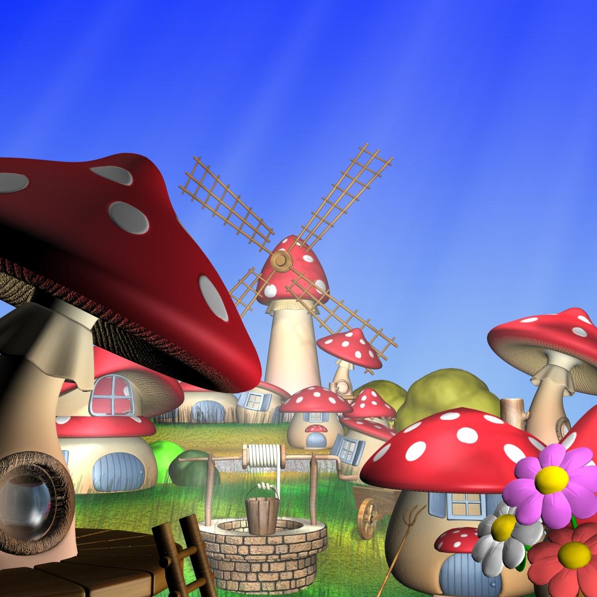 cartoon mushroom village 3d model max fbx obj 161199
