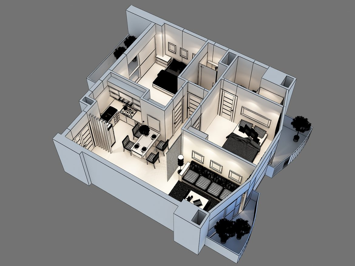 detailed interior apartment 3d model max 159045