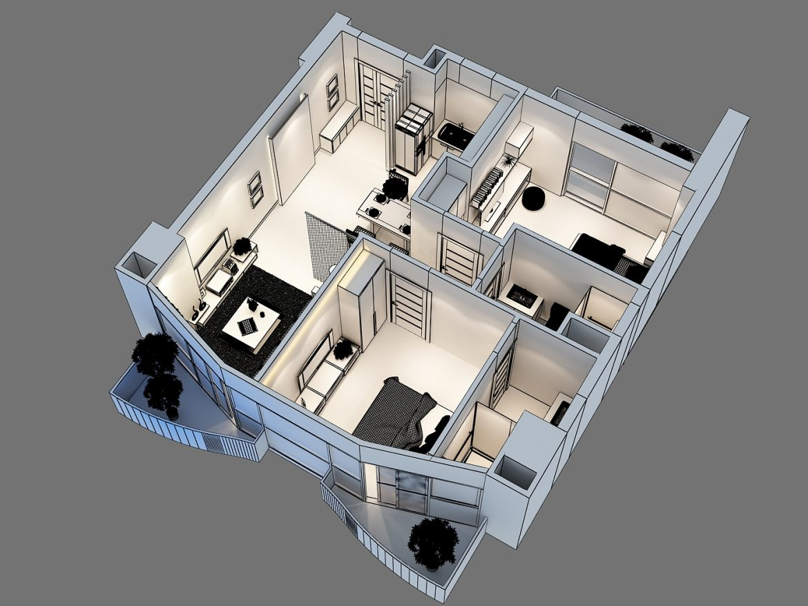 detailed interior apartment 3d model max 159046