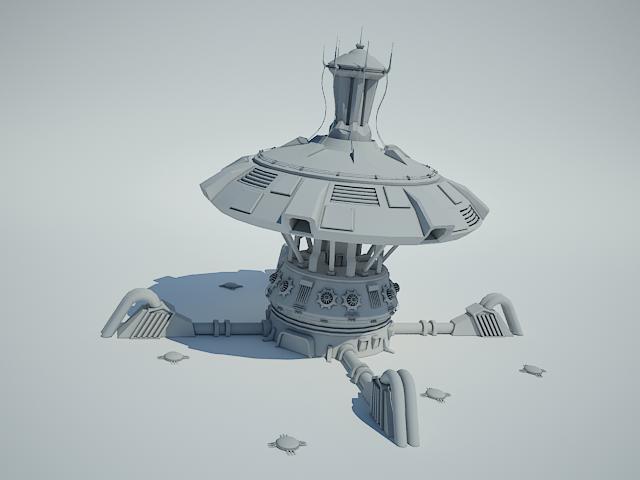 futuristic sci fi building 4 3d modelo 3ds max fbx obj 112345