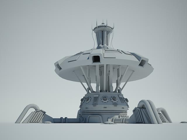 futuristic sci fi building 4 3d model 3ds max fbx obj 112346
