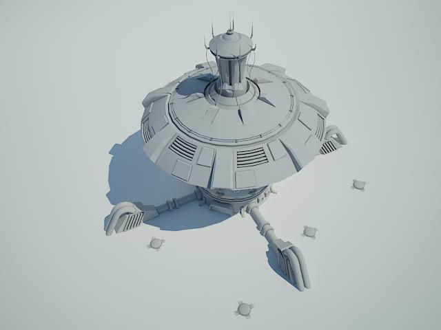futuristic sci fi building 4 3d model 3ds max fbx obj 112347