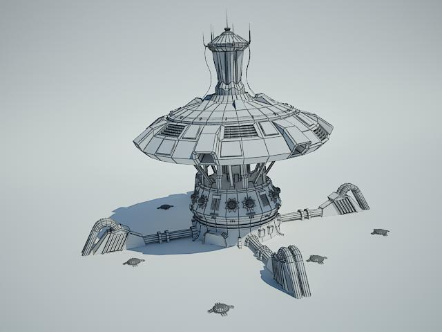 futuristic sci fi building 4 3d model 3ds max fbx obj 112348