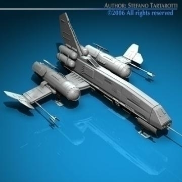 space fighter 3d model 3ds dxf c4d obj 77439