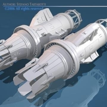 spaceship engines 2 3d model 3ds dxf obj 78880