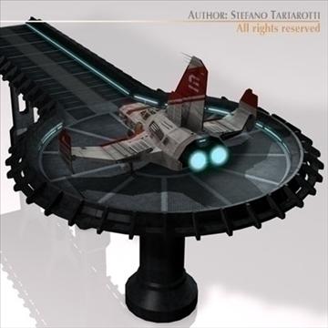 kosmosa kuģis ar nosēšanās piestātni 3d modelis 3ds dxf c4d obj 97226