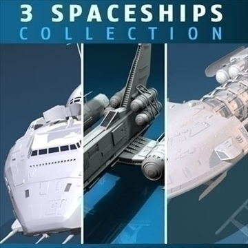three spaceship and space fighter collection 3d model 3ds dxf c4d obj 82608