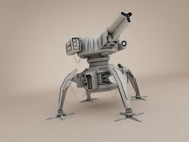 sci fi gun tower 3d model 3ds max fbx obj 113476