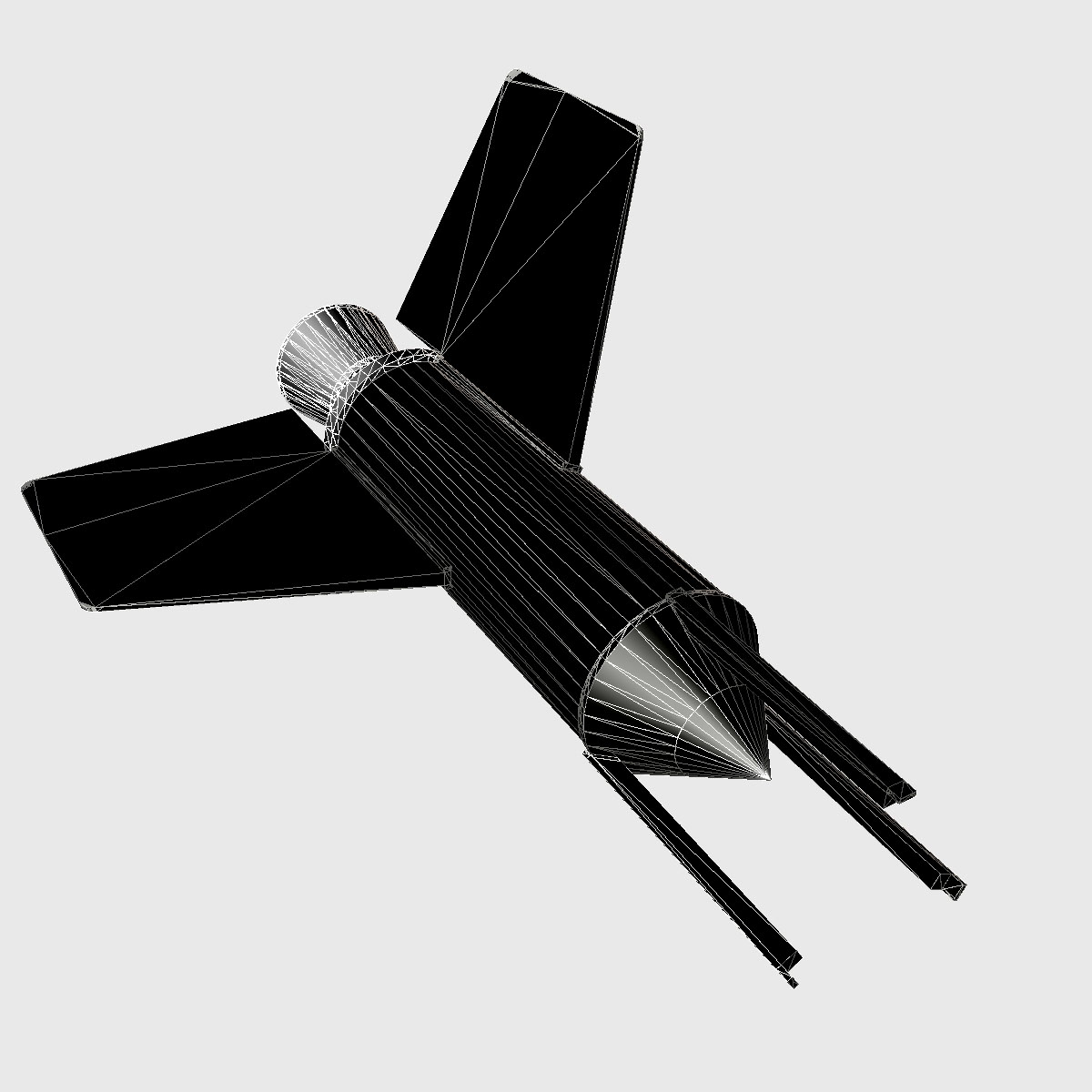nasa aerobee 100 rocket 3d model 3ds dxf fbx blend cob dae x  obj 158441