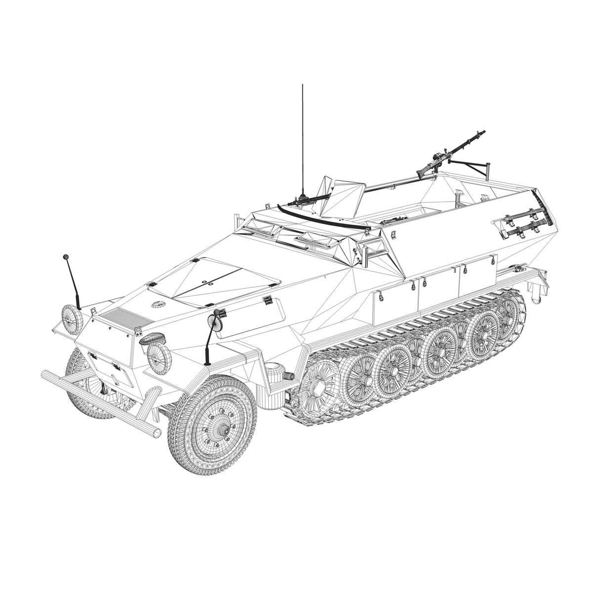 sd.kfz 251/1 ausf.b – hanomag halftruck 3d model 3ds fbx c4d lwo obj 151810