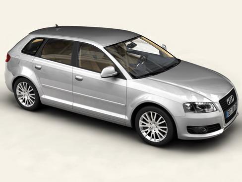 audi a3 sportback 2009 3d líkan 3ds max lwo obj 113820