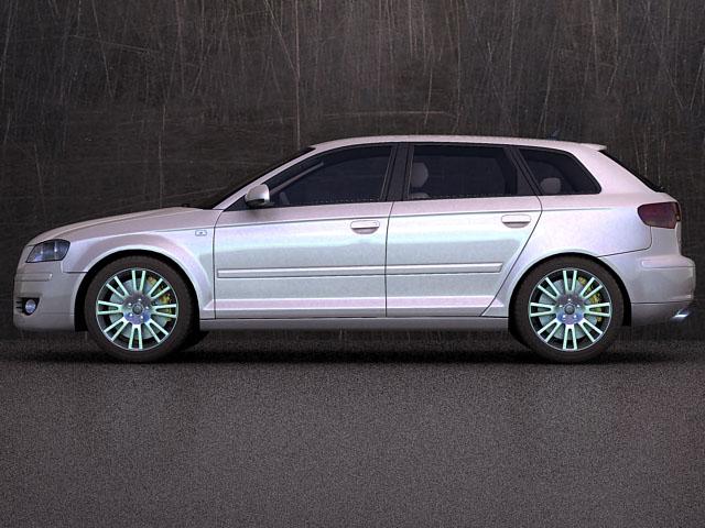 audi a3 sportback 3d model 3ds max fbx obj 124406