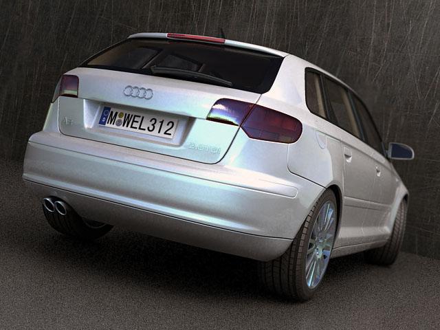 audi a3 sportback 3d model 3ds max fbx obj 124407