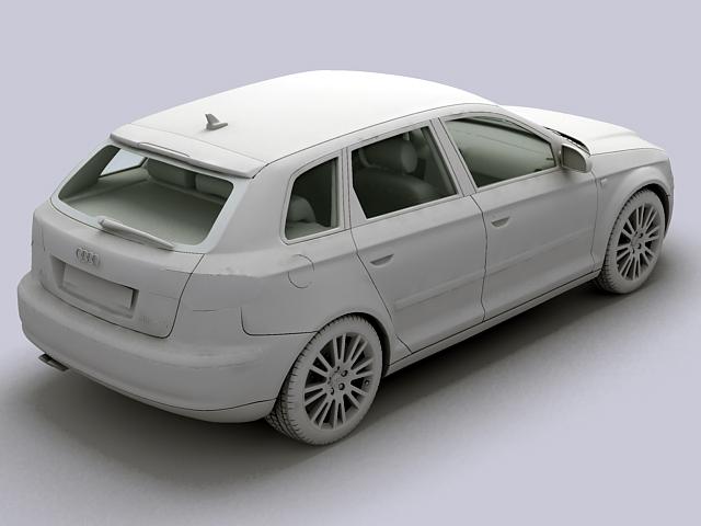 audi a3 sportback 3d model 3ds max fbx obj 124410