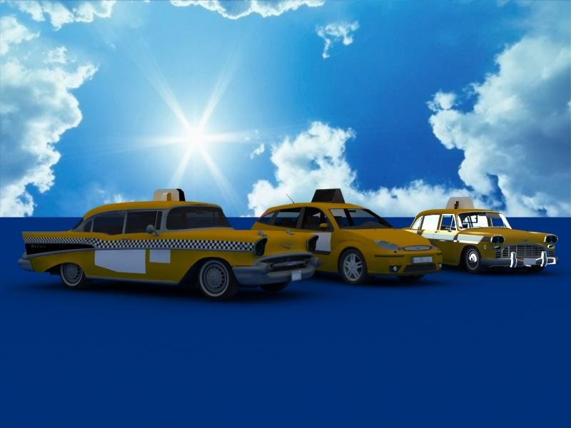 taxi cars collection 3d model max dxf fbx obj 120208
