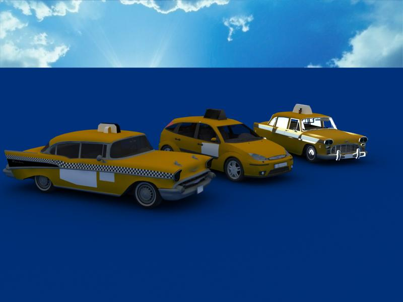 taxi cars collection 3d model max dxf fbx obj 120209