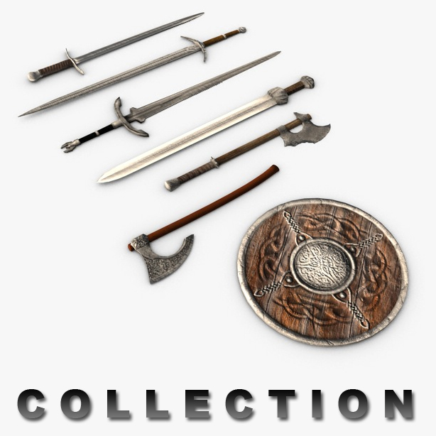 medieval weapons collection 3d model 3ds max fbx c4d obj 138751