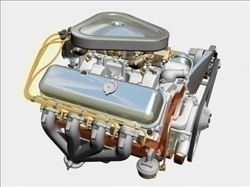 chevrolet 427 v8 engine 3d model 3ds dxf 104750