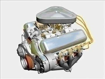 chevrolet 427 v8 engine 3d model 3ds dxf 104751