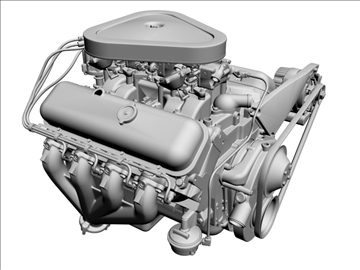 chevrolet 427 v8 engine 3d model 3ds dxf 104752