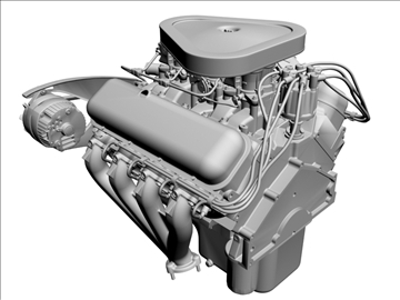 chevrolet 427 v8 engine 3d model 3ds dxf 104753