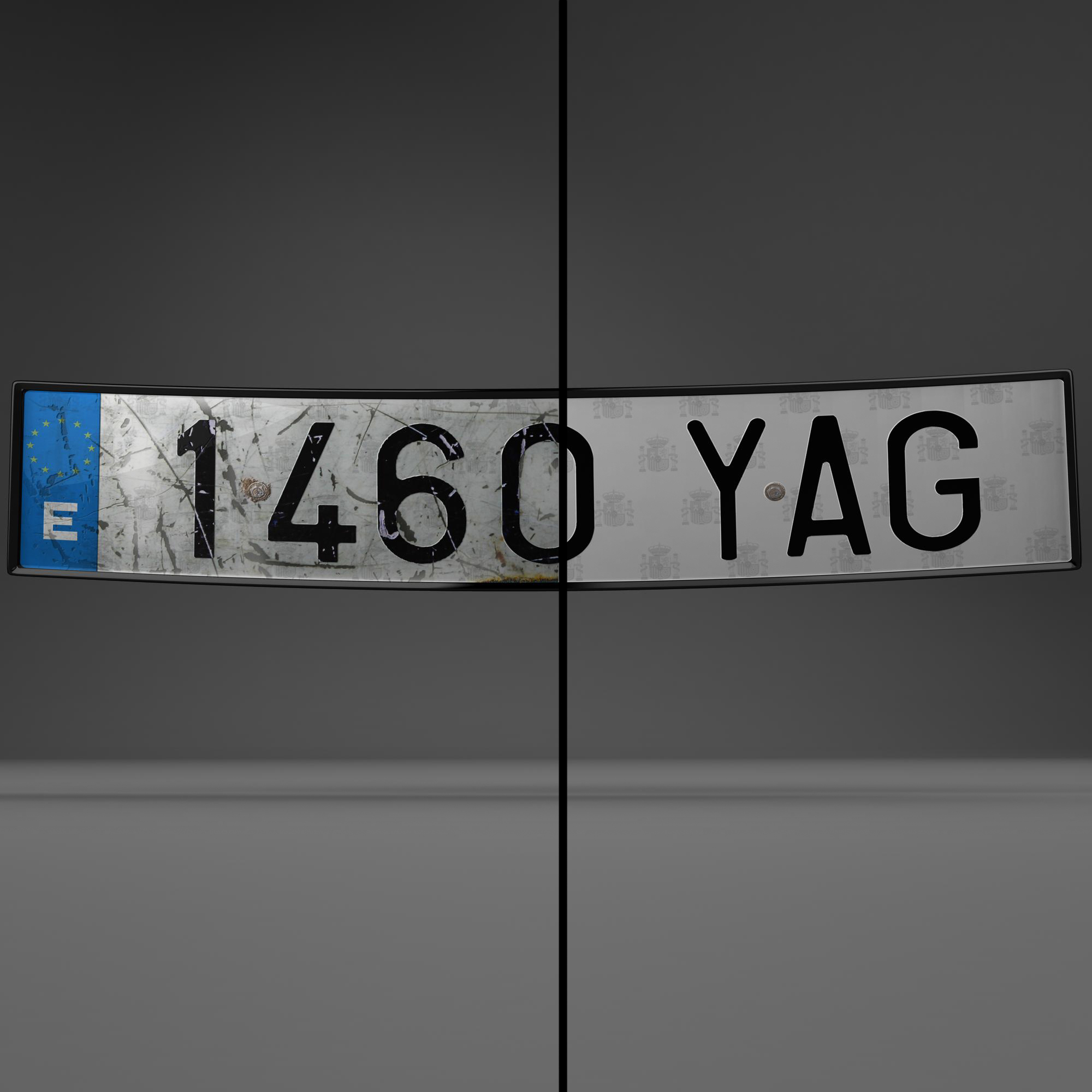 euro style license plate 3d model 3ds max fbx ma mb obj 157434