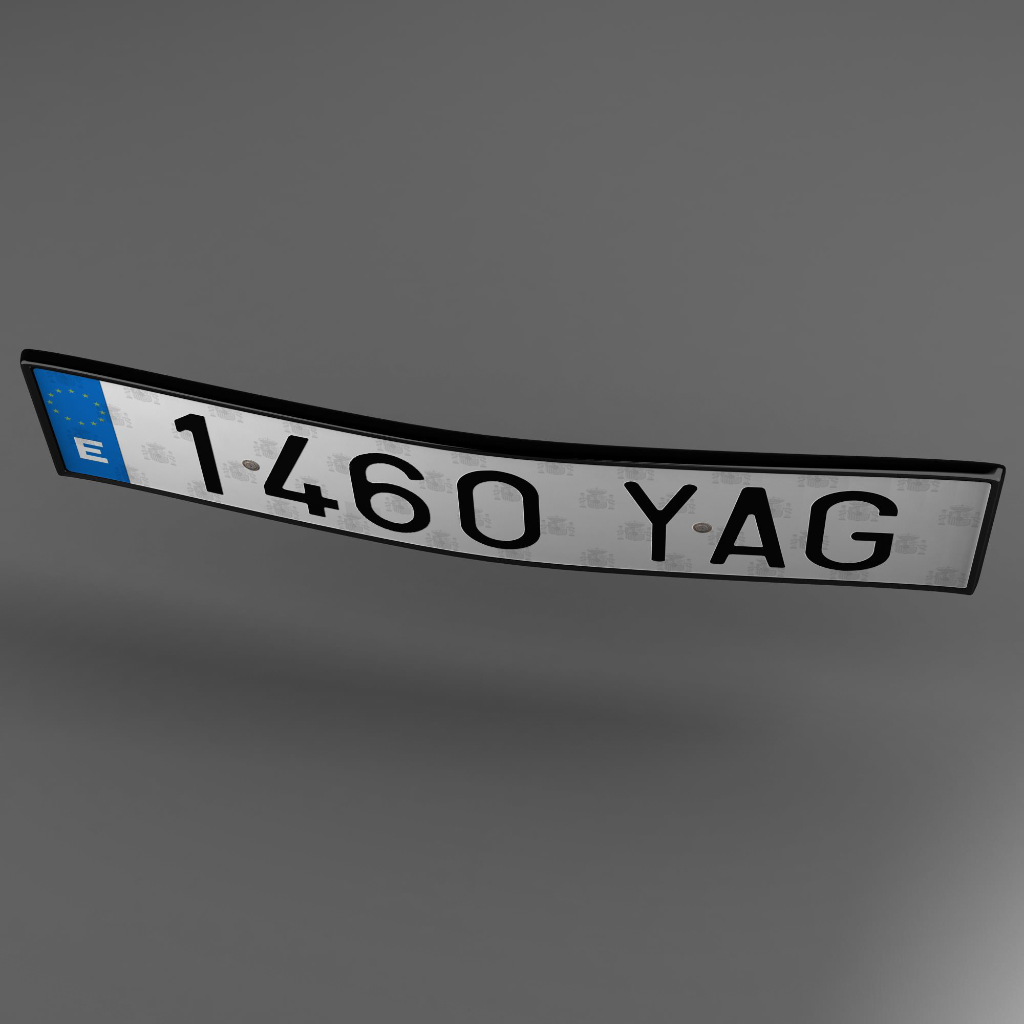 euro style license plate 3d model 3ds max fbx ma mb obj 157440