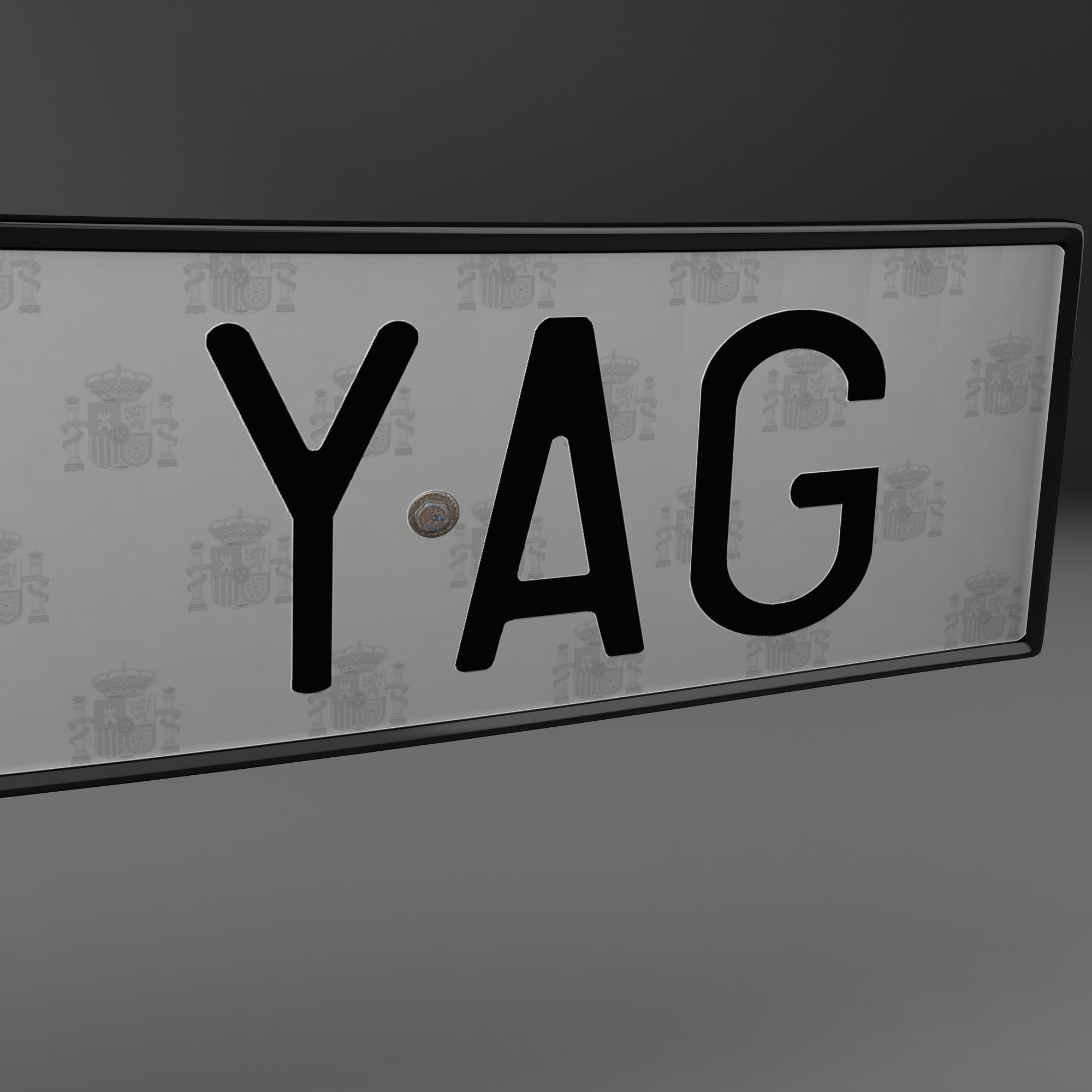 euro style license plate 3d model 3ds max fbx ma mb obj 157442