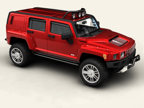 hummer h3r 3d model 3ds max lwo obj 116717