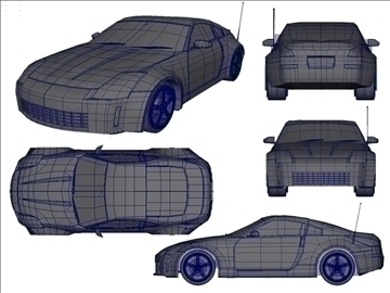 nissan 350z low poly shell 3d model ma mb 102222