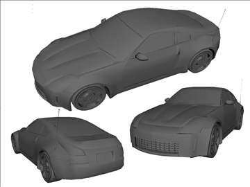 nissan 350z low poly shell 3d model ma mb 102223
