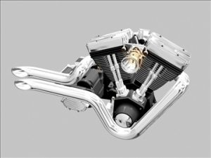 V-Twin Motorcycle Engine 3D Model