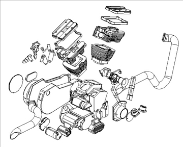 v-twin motor za motocikle 3d model 3ds 87987