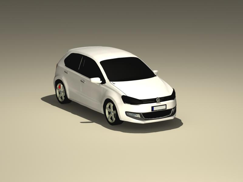 volkswagen polo model 2010 3d 3ds max fbx obj 147972