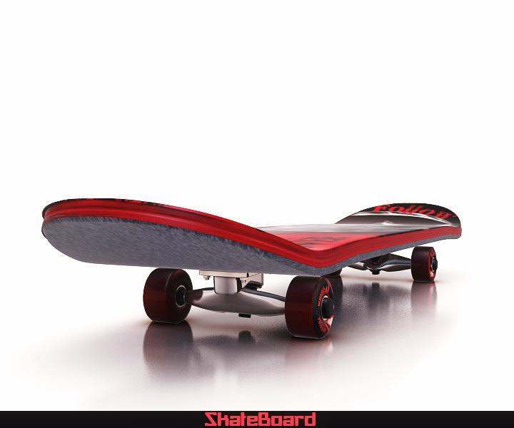 skate board 3d model 3ds max fbx obj 116819
