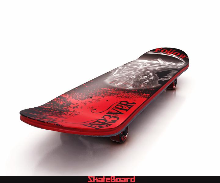 skate board 3d model 3ds max fbx obj 116820
