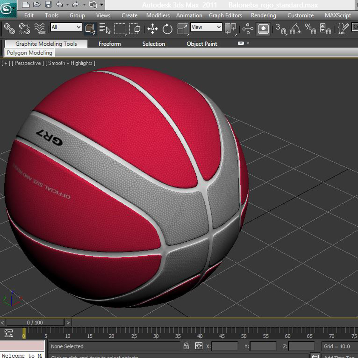 basketball ball eba red 3d model 3ds max fbx c4d ma mb obj 165300