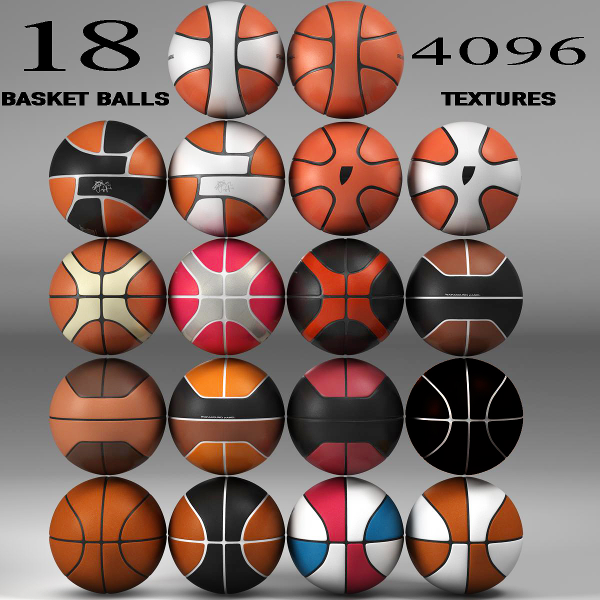 basketball ball set 3d model 3ds max fbx c4d ma mb obj 165928