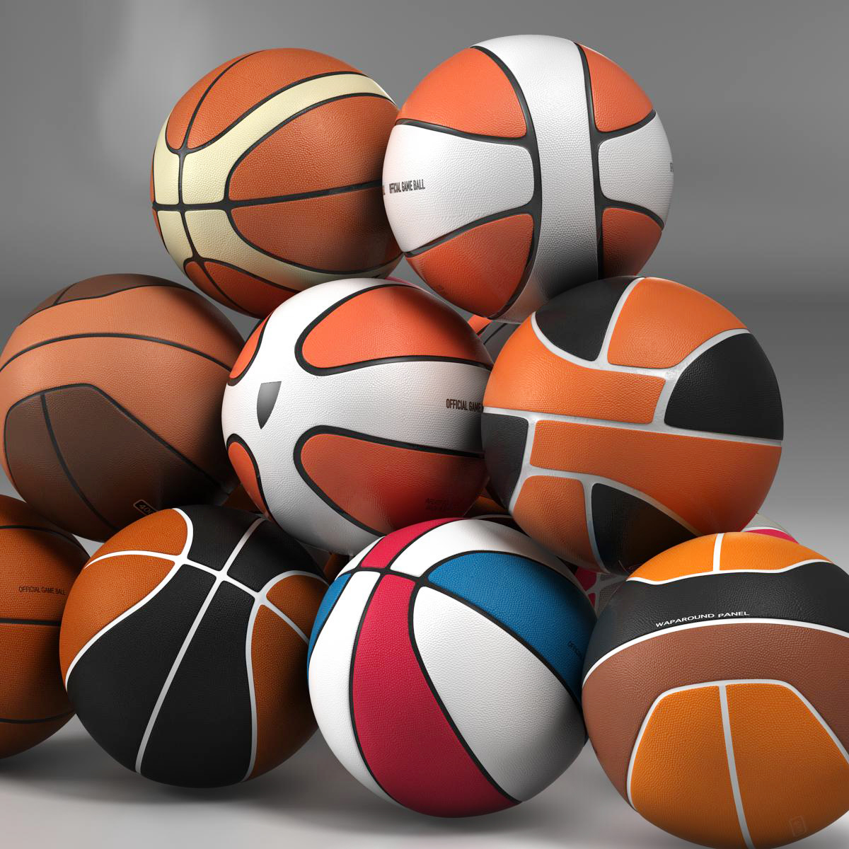 basketball ball set 3d model 3ds max fbx c4d ma mb obj 165929