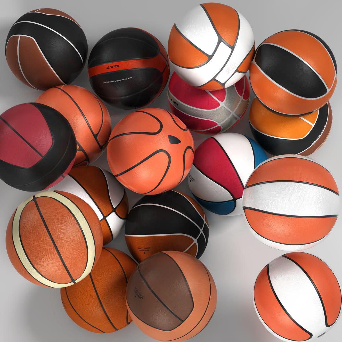 basketball ball set 3d model 3ds max fbx c4d ma mb obj 165931