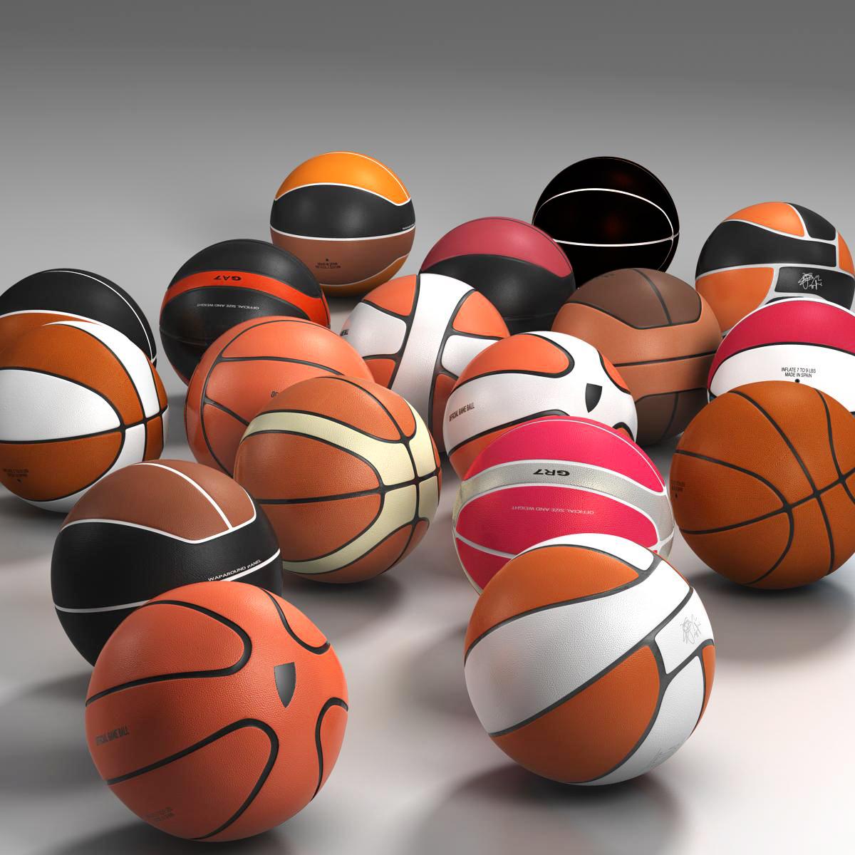 basketball ball set 3d model 3ds max fbx c4d ma mb obj 165935