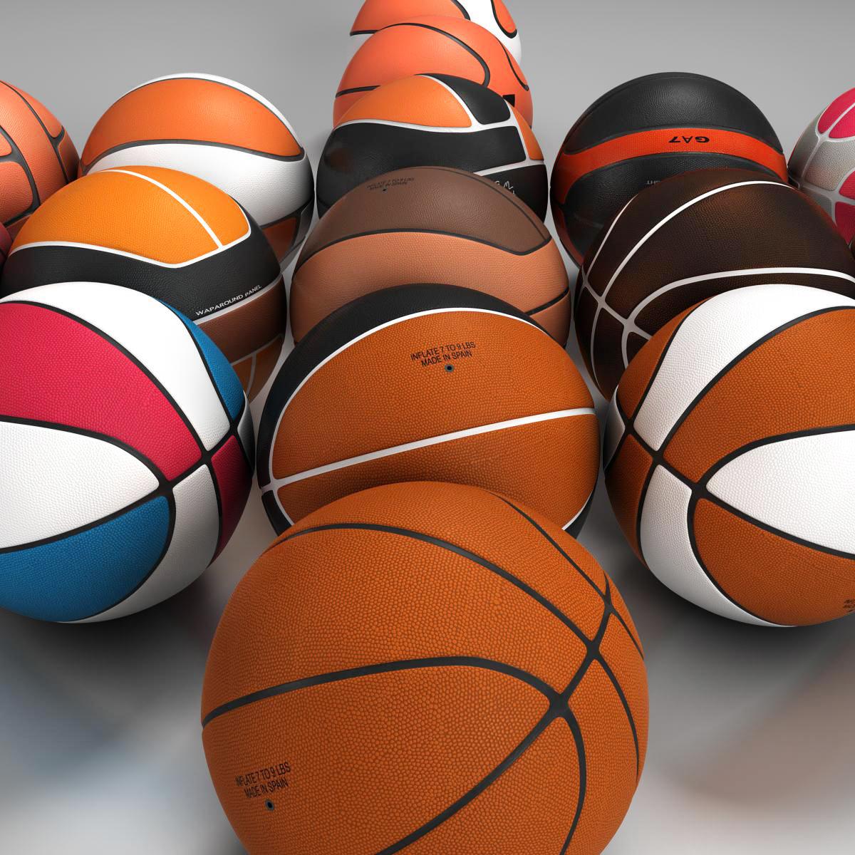 basketball ball set 3d model 3ds max fbx c4d ma mb obj 165937