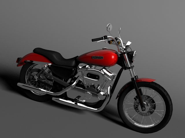 harley davidson xl883 sportster custom 2009 3d model 3ds max c4d obj 147613
