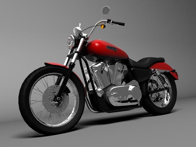harley davidson xl883 sportster custom 2009 3d model 3ds max c4d obj 147616