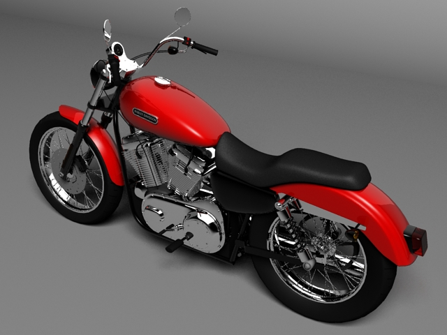 harley davidson xl883 sportster custom 2009 3d model 3ds max c4d obj 147617