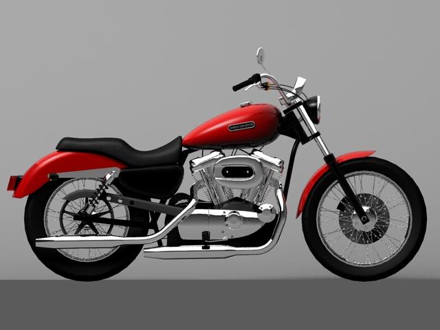 harley davidson xl883 sportster custom 2009 3d model 3ds max c4d obj 147618