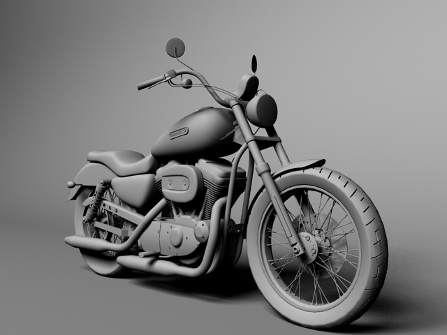 harley davidson xl883 sportster custom 2009 3d model 3ds max c4d obj 147626