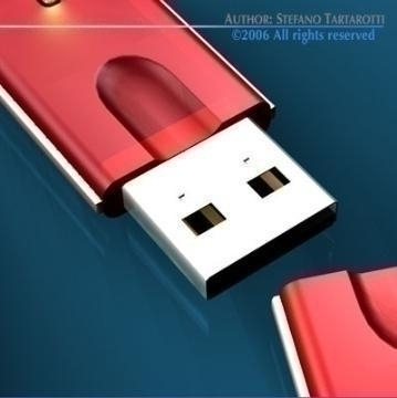 usb key 3d model 3ds c4d obj 77736