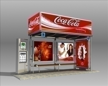 bus stop shelter coke brand 3d model 3ds max obj 110414