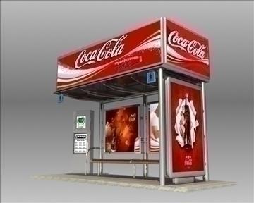 bus stop shelter coke brand 3d model 3ds max obj 110416